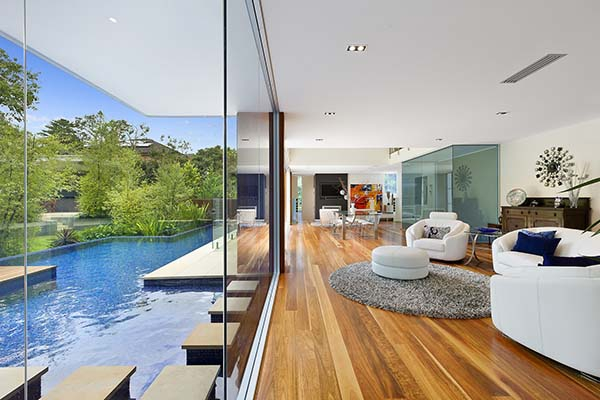 house overlooking pool